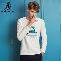 Pioneer Camp New Arrival Autumn Men T Shirt Brand Clothing Deer Pattern Casual T Shirt Male