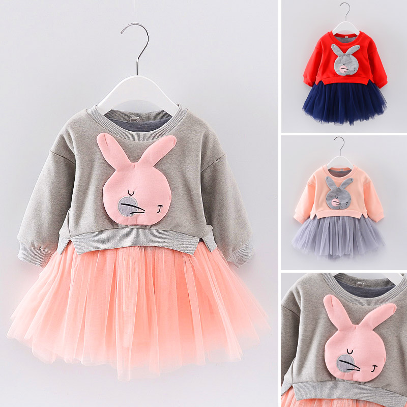 2017 new spring autumn children clothes child clothing dresses baby girl rabbit dress baby long sleeve mesh patchwork dress