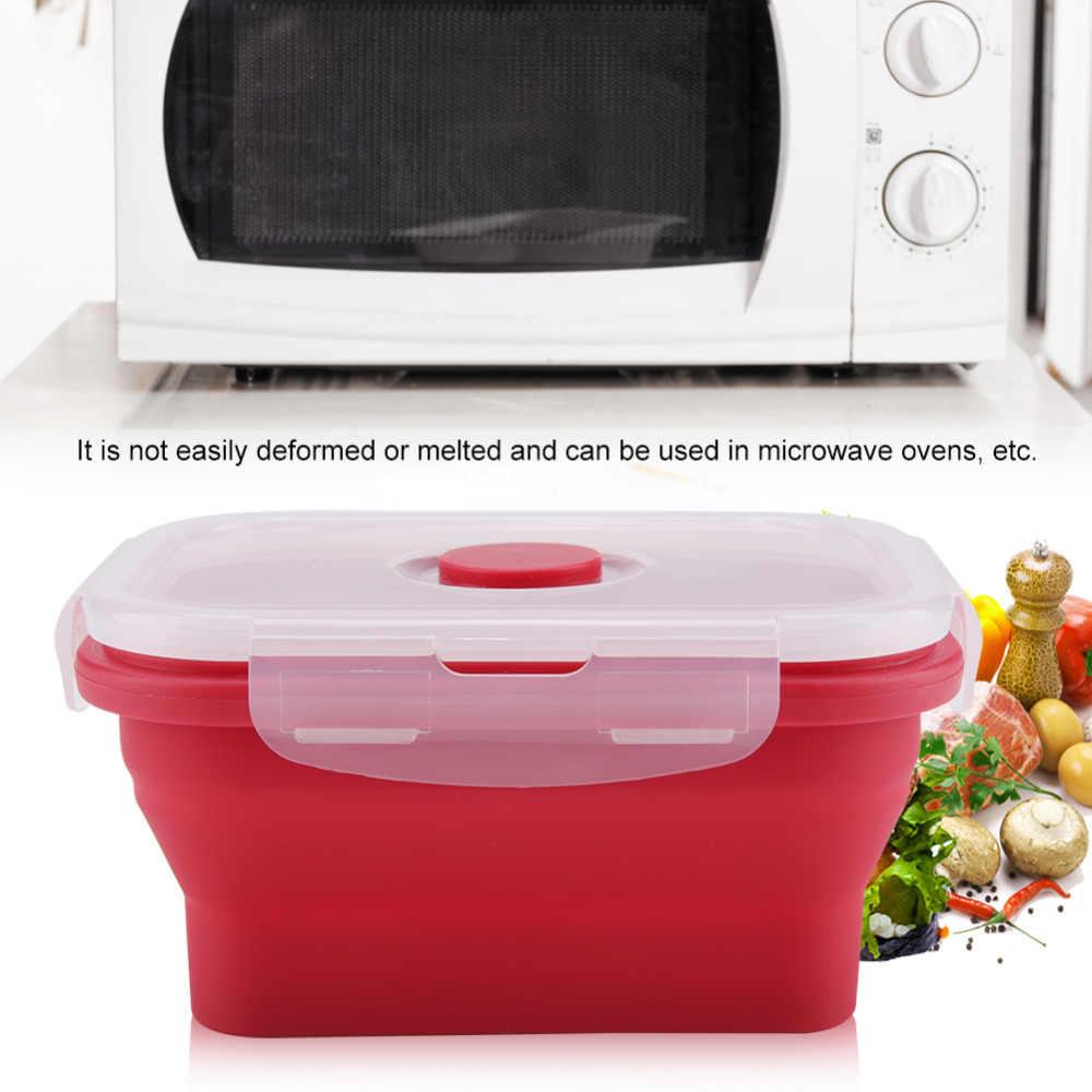 350ML Dobrável Material de Silicone Ecológico Saudável Tigela Bento Lunch Box Crianças Estudante Portátil Food Container Define Louça
