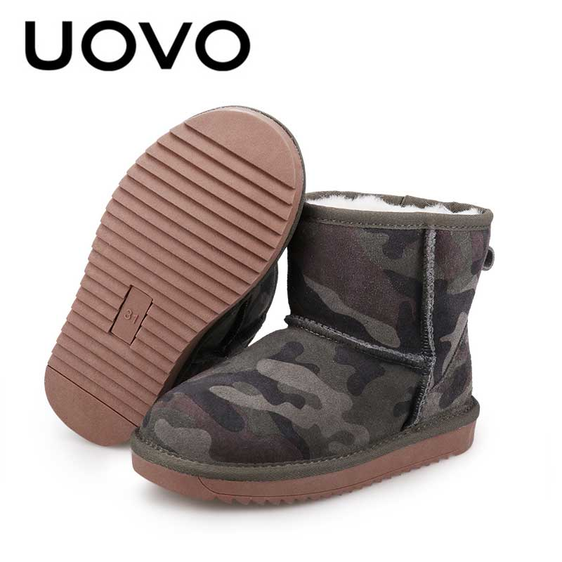 Suede Short Boots Uovo Classical Design Camouflage Kids Size 28-35 Warm Footwear For Children All-match Shoes Boys Winter Boots uovo christmas winter warm children medium knitted wool snow boots for kids girls cow suede cotton boots shoes for 4 10t ccs027