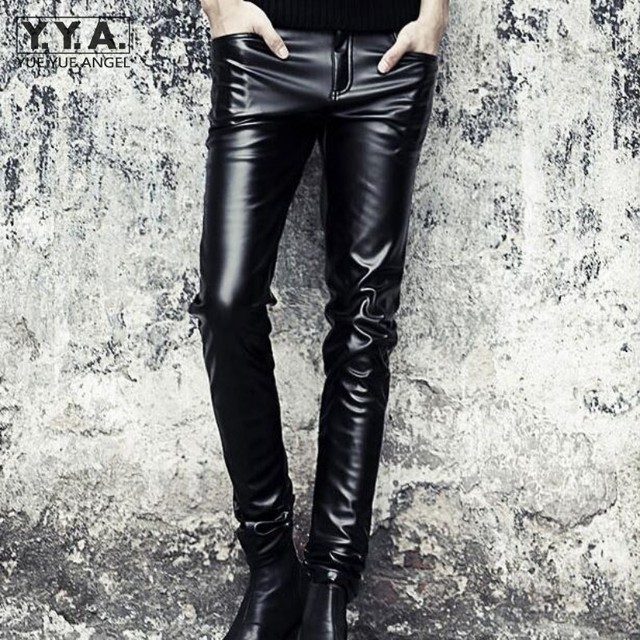 83144366d276fa Punk Mens Slim Fit Trousers Motorcycle Skinny Faux Leather Pencil Pants  Fashion Black Full Length PU Leather Pants Free Shipping