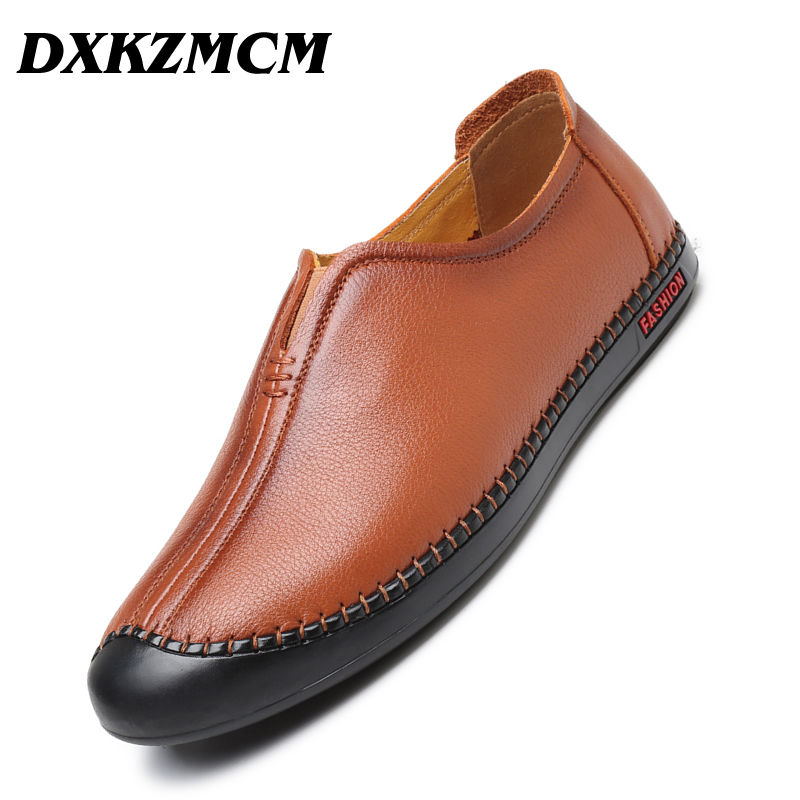 DXKZMCM Handmade Men Loafers Genuine Leather Moccasins Breathable Male Shoes Casual Slip On Driving Shoes citizen часы citizen fe1011 20a коллекция eco drive