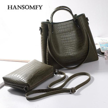 HANSOMFY Bag Sets Women Crocodile Leather Big Totes Female Dual Functions Crossbody Bucket Bag Lady Large