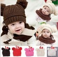 2016 Autumn and winter free shipping fashion baby child  knitted cute  Skullies & Beanies warm with cute ear 38-48cm