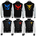 Hot Pokemon Go Logo Logo Sweatshirt Team Valor Instinct Mystic Symbol Cosplay Costume Jacket Hoodie Plus Size