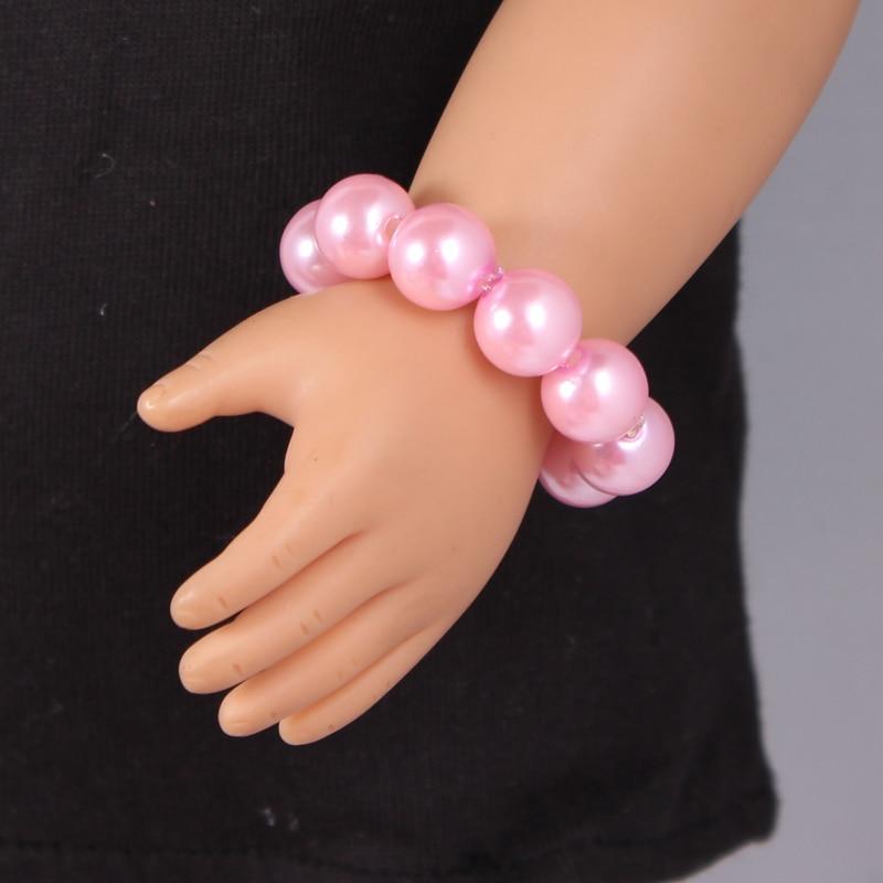 1 pcs Pink American Girl Doll Pearl Bracelets Fits Our Generation Doll 18 American Girl Doll