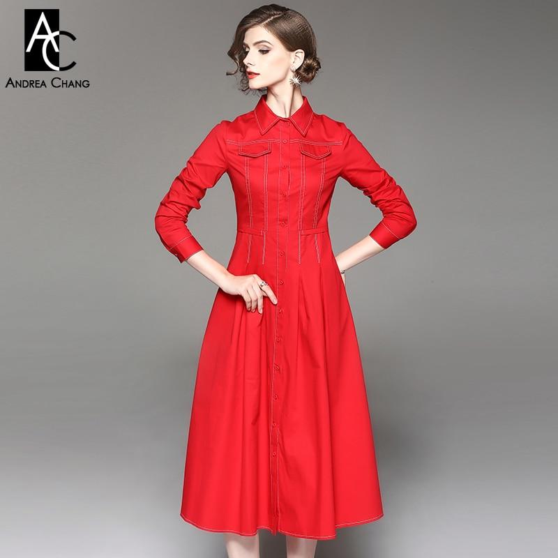 45afc6e28450 Autunno inverno donna vestito rosso arancio blu scuro vestito di cotone  polpaccio dell abito di sfera di lunghezza tasche sul petto ufficio moda  lunghe in ...