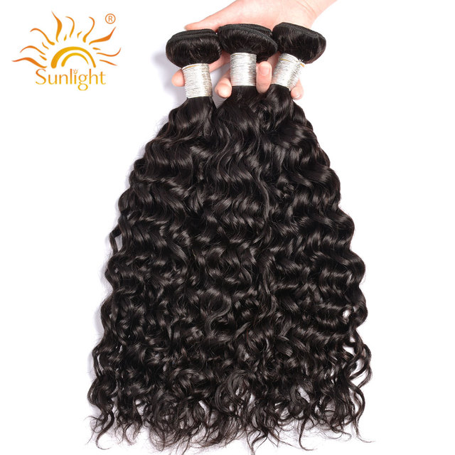Sunlight Human Hair Water Wave Brazilian Hair Weave Bundles 3 Bundle