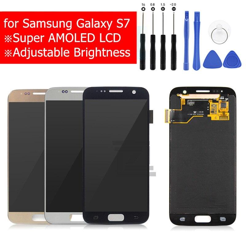 Pour Samsung GALAXY S7 G930 L'assemblée de convertisseur analogique-Numérique D'écran Tactile d'affichage d'affichage à cristaux liquides de LCD Affichage pour Samsung S7 G930F Réparation Pièces De Rechange