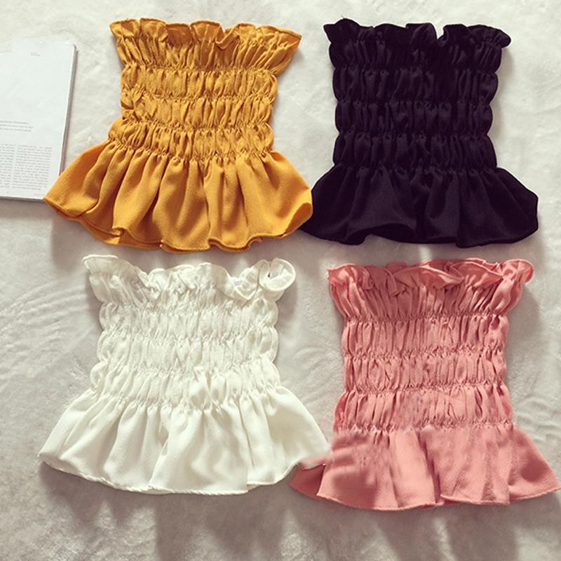 Women Sleeveless Blouse 2019 Summer New Fashion Ladies Stretchy Peplum Tops Cute Cropped Chiffon Blouses Off Shoulder