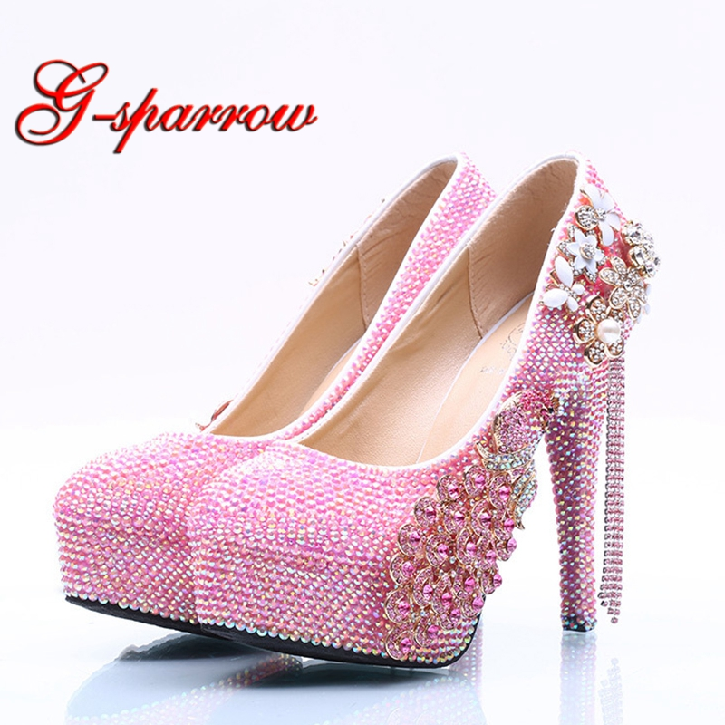 Sweet Pink Rhinestone Birthday Party Shoes Gift Sparkling Pink AB Crystal  Wedding Prom Pumps Adult Ceremony Shoes Size 11-in Women s Pumps from Shoes  on ... 9d72e3140e26