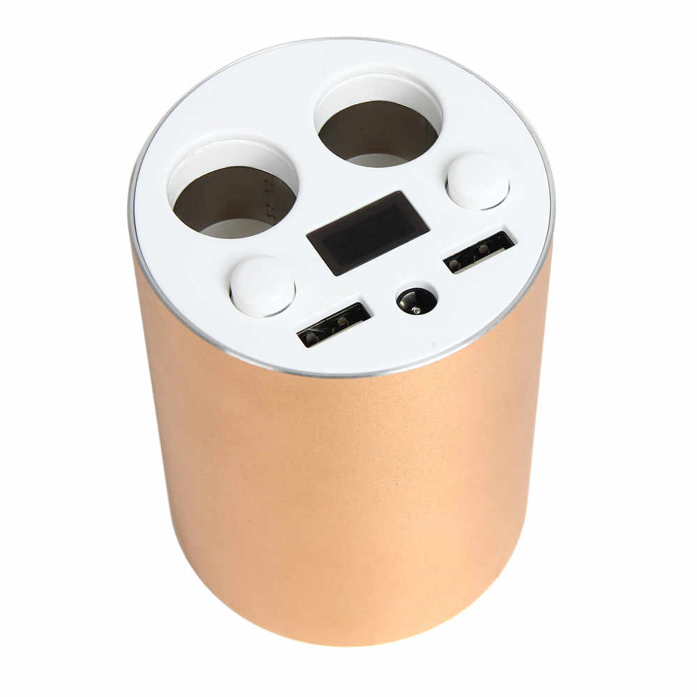 Aluminium Alloy Car Chargers with 2 USB Ports and 2 Sockets Cigarette For mercedes v clas classe e w211 w212 For auto For charge