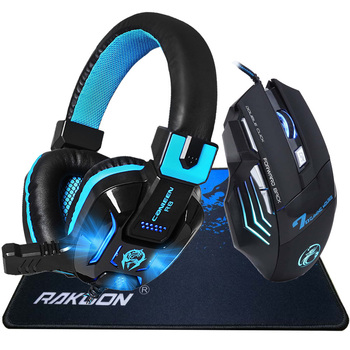 9200 DPI Adjustable 8 Buttons Pro Gaming Mouse Computer Mouse+Deep Bass LED Light Pro Gaming Headphone Headset+Gaming Mouse Pad เมาส์