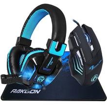 Deep Bass LED-Licht Pro Gaming Kopfhörer Headset + 5500 DPI Einstellbar 7 Tasten Pro Gaming Maus Geschenk + Gaming Mauspad Geschenk