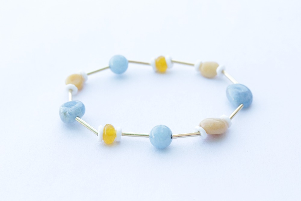 Natural Aquamarine, Topaz, Shells, Yellow Stone, Stainless Steel Straight, Romantic Sweet Colors Beads Gift For Women