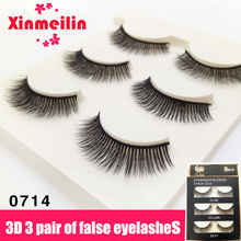 Xinmeilin 3 pairs Handmade Black Terrier False Eyelashes 3D Multilayer Thick Stage Makeup