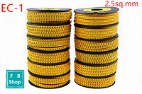 12rolls/lot EC 1 2.5sq.mm Yellow Cable Markers Letter 0 to 9 + Cable Wire Markers