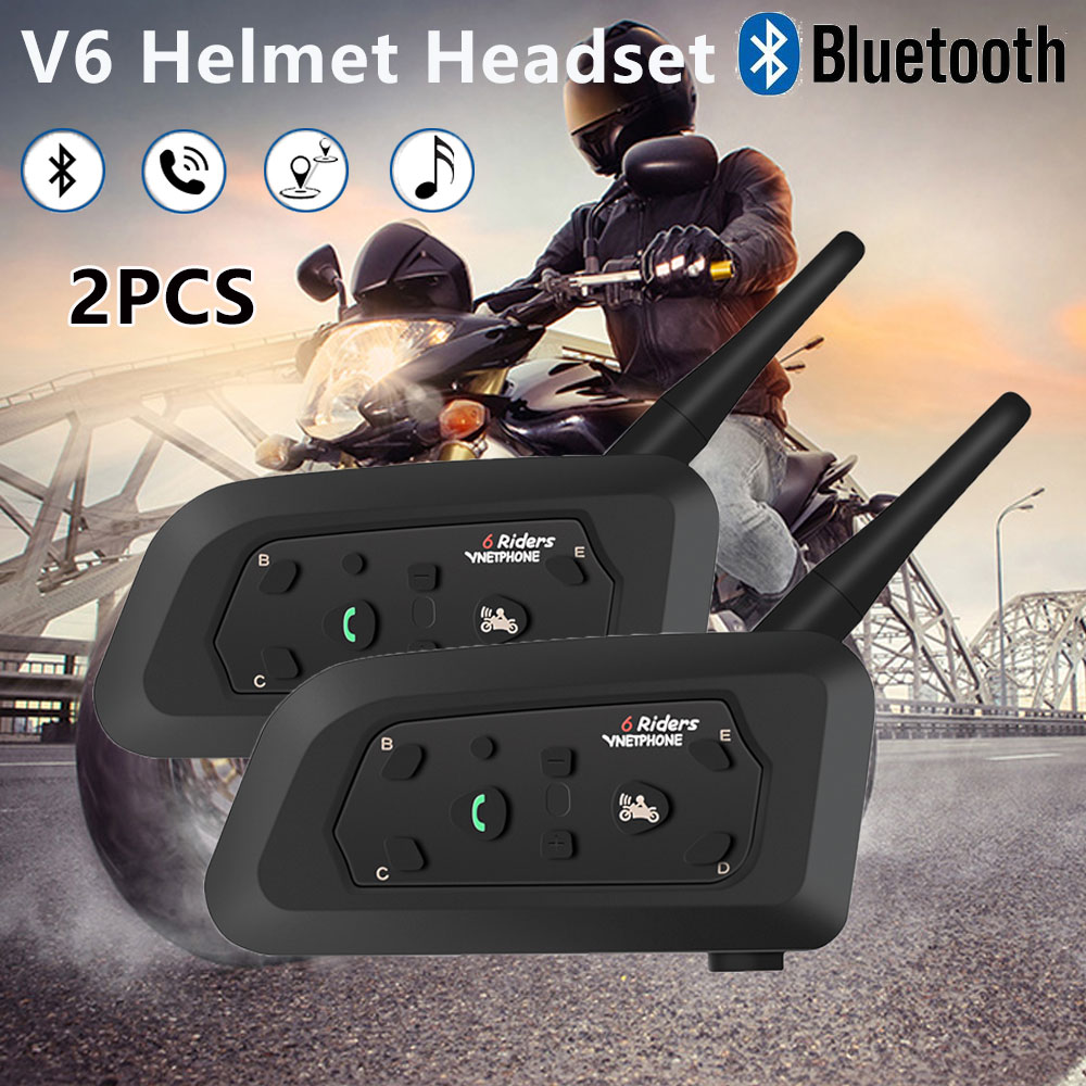 2 pièces V6 Interphone casque casque moto 1200 m Bluetooth Interphone sans fil Intercomunicador Interphone connecteur pour 5 cavalier