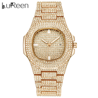 Lureen Gold Color Watch Quartz Luxury Full Diamond Round Watches Mens Stainless Steel Wristwatch Gift