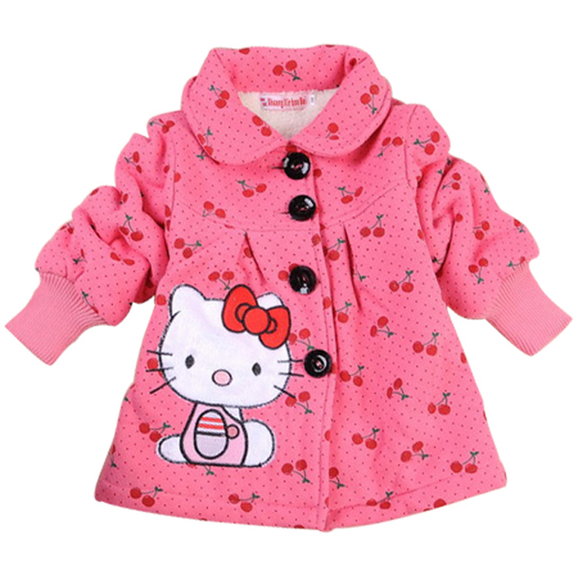2c561327ce53 Children s Wool Outerwear Girls Hello Kitty Winter Keep Warm Coat ...