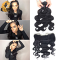 Malibu Dollface Recommend Pre Plucked Lace Frontal Closure With Bundles Brazilian Virgin Hair Body Wave With 13x4 Lace Frontal