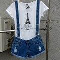 Qualidade superior de Verão Casuais Shorts Jeans Macacão Jeans Macacão Suspensórios Curtas Soltas Buraco Azul Jumpsuits Rompers Mulheres DZ-2718