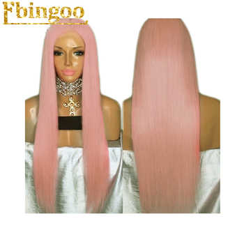 Ebingoo High Temperature Fiber Peruca Perruque Long Straight Pink Synthetic Lace Front Wig With Middle Parting For Women