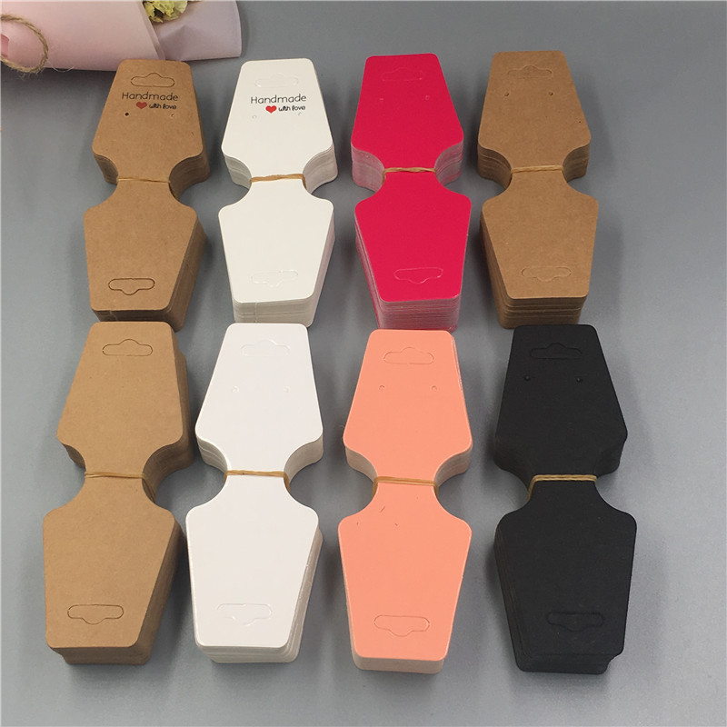 100pcs 12*4.5cm Rose Red/Pink Paper DIY Necklace Folded Card For Bracelet/Pendant Accoessories Display Packing Card