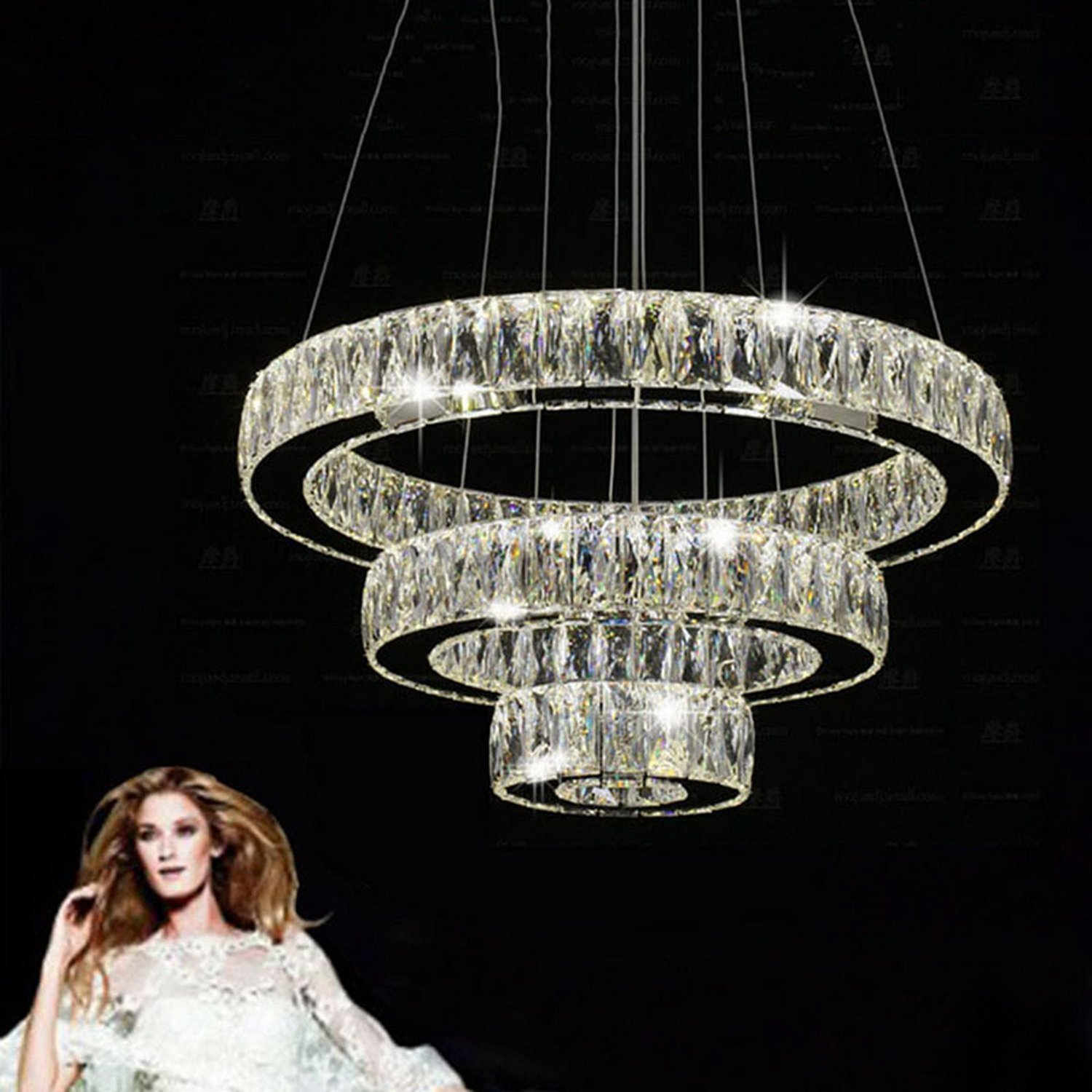 Modern Fashion LED Crystal Chandeliers Modern Lighting Three Rings  K9 Large Crystal Hotel pendant lamp Fixtures (Warm White)