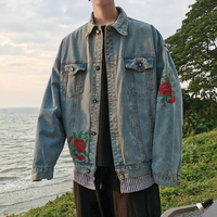 2018 Spring And Summer Newest Men S Fashion Flowers Embroidered Fake Two Pieces Wash Cowboy Loose