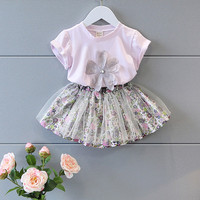 Girls Summer Outfits Baby Girl Clothes Set Flower Shirt Floral Skirt 2 Pcs Clothing Suit Kids
