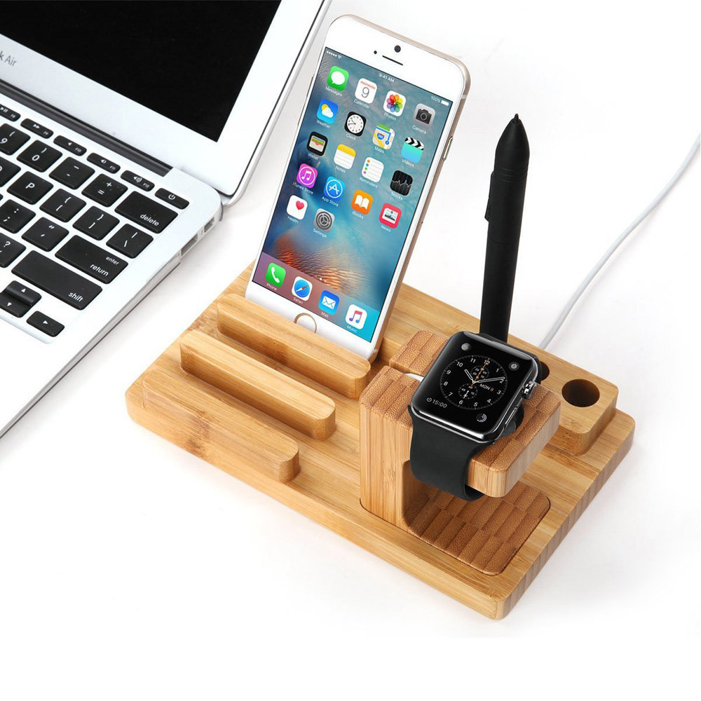 Bamboo Wooden 4 in 1 USB 4 Port Micro HUB Charging Stand Station Dock Platform Cradle Holder for iPhone/ iPad /Watch