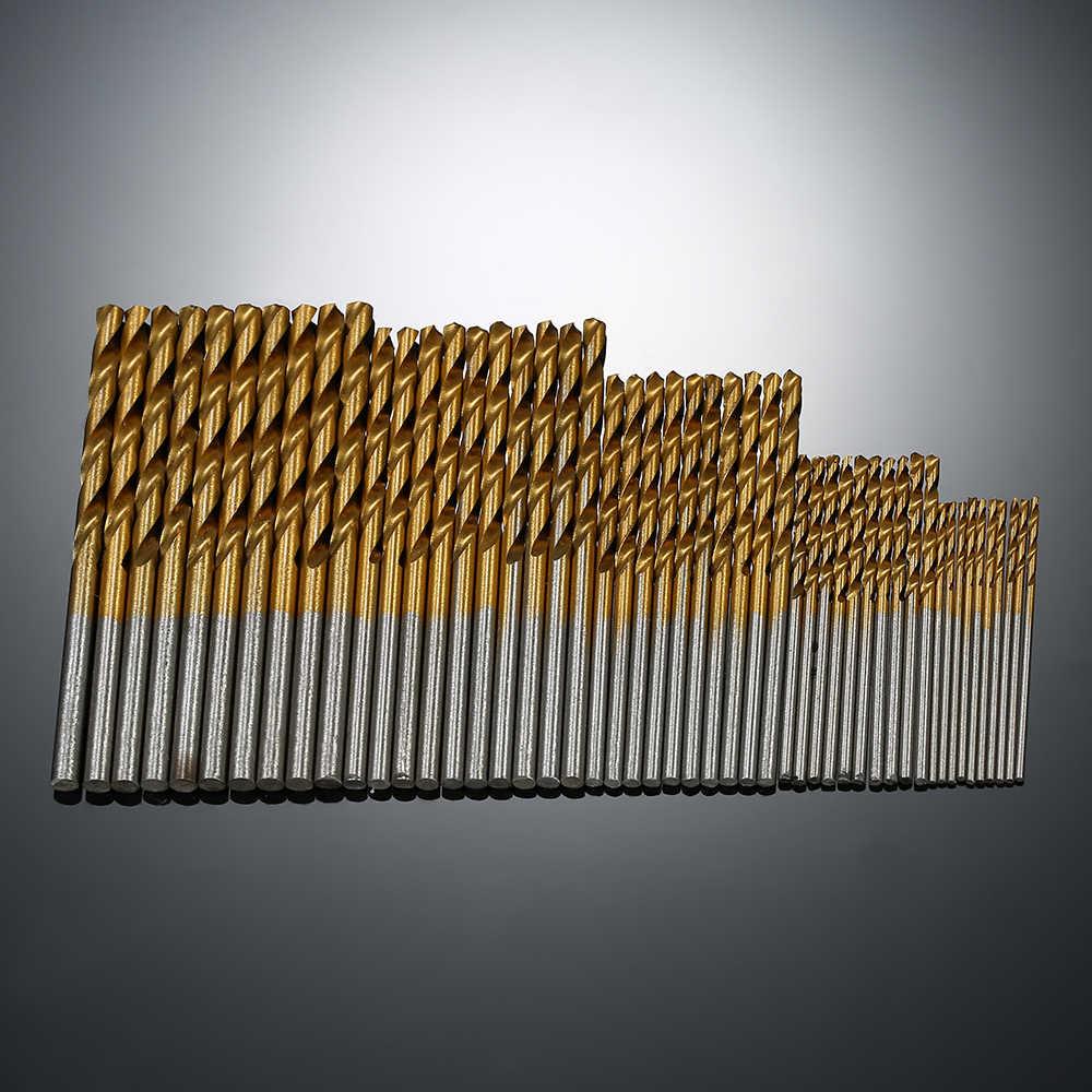 50 piezas 1/1 5/2 0/2 juego de Brocas HSS de plástico y aluminio con revestimiento de titanio de 5/3mm