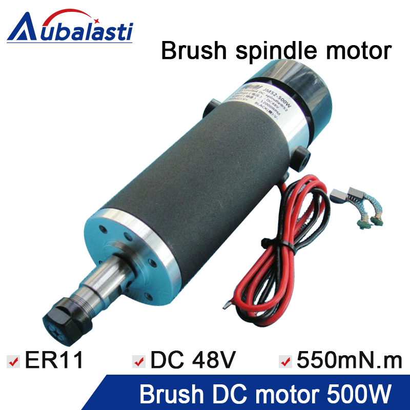 External carbon brush scrub 500W with brush high speed air cooled spindle motor chuck ER11 input voltage DC48V PCB spindle e240 high speed dc 300w spindle motor air cooled pcb board external carbon brush and motor bracket ngraving machine motor 1pcs
