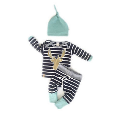 <font><b>Baby</b></font> Boy <font><b>Girl</b></font> <font><b>Autumn</b></font> Outfit <font><b>Clothes</b></font> <font><b>Newborn</b></font> Kids Striped T-Shirt Tops+ Blue Striped Pants Trousers+Hats 3PCS Set image