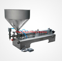 5 100ML Pneumatic Pasty Food Filling Machine Sticky Pasty Filler Stainless SS304 Hot Sauce Bottling Equipment
