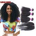Grau 7A Malásia Afro Kinky Curly Virgem Cabelo Raw Não Transformados 3 Feixes de Cabelo Encaracolado Kinky Malaio Com Fecho de Rendas