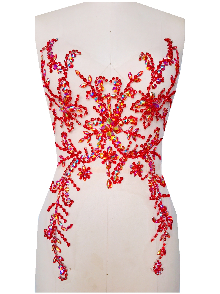 A74 Pure hand made dazzling red sew on Rhinestones applique crystals patches  49 31cm dress accessory 26d05ef24da0