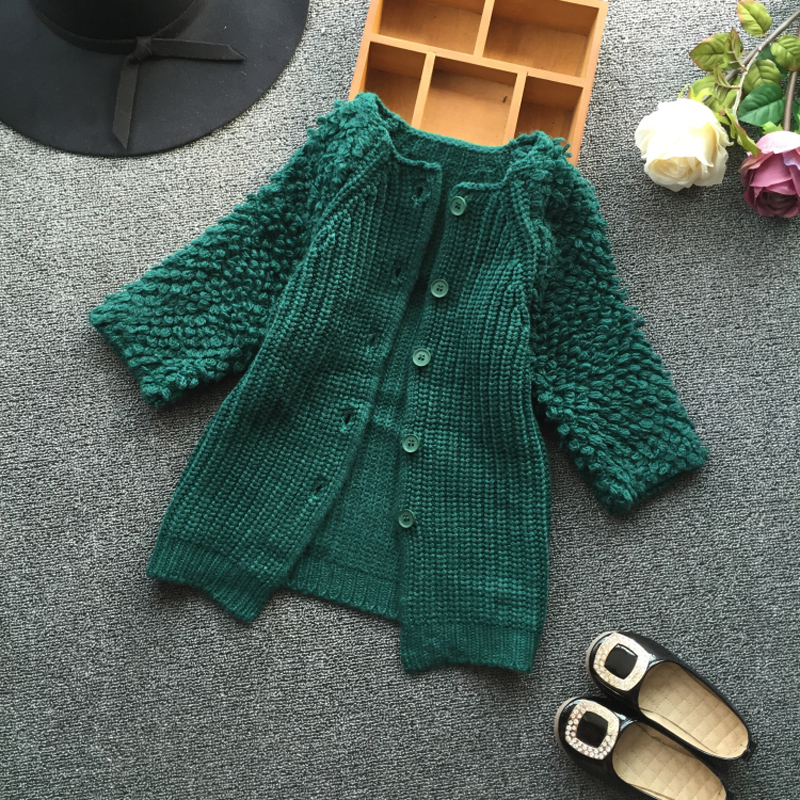 ФОТО knitted girls cardigan toddler girls sweaters long single breasted girls knitted sweater solid Nine sleeves sweater for girls