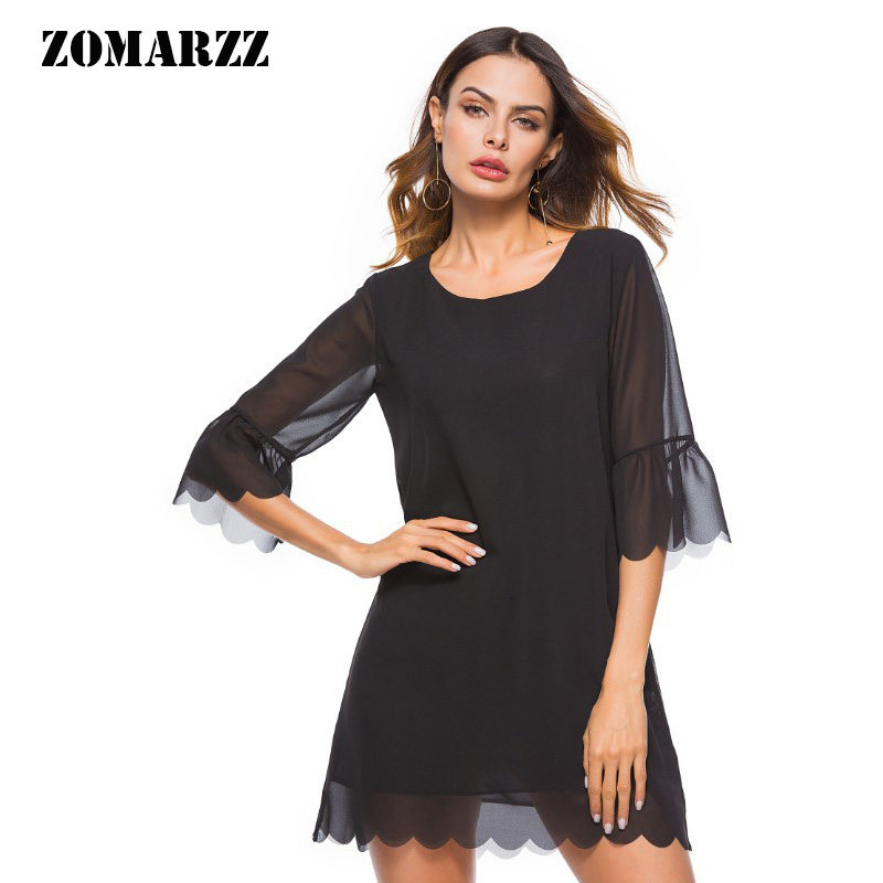 Buy black dress with transparent sleeve and get free shipping on  AliExpress.com 461bae85e