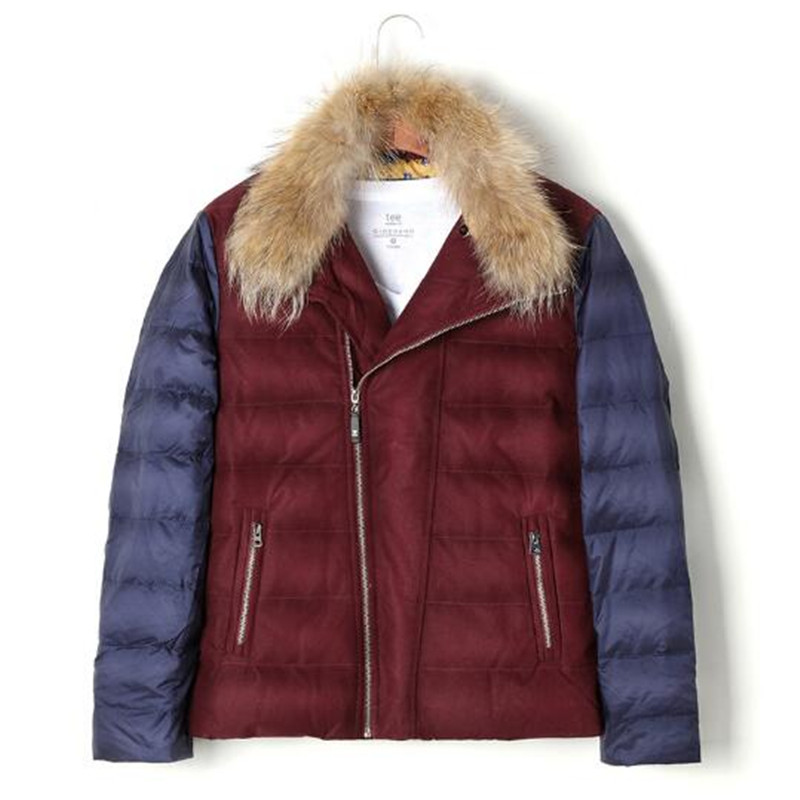 Winter Fur Collar  Jackets Men Warm Spliced Color High Quality Down Coats Male Casual Outerwear M-3Xl Parkas A4008