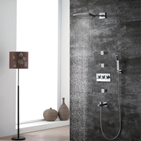 HIDEEP New Luxury Wall Mounted Shower Set High Quality Brass Five Functions Faucets Set System Cold Hot Water Square Hand Shower