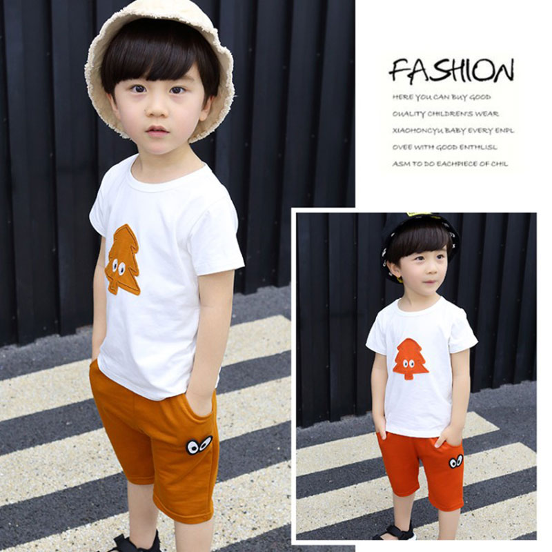 Summer Childrens Clothing Boys O-neck T-shirt+ Shorts Patchwork Children Pure Cotton Shorts Suit Fashion Toddler Boy Clothing