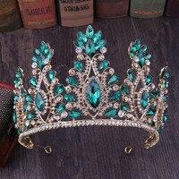 Fashion Wedding Crown Green Crystal Bride Hair Accessories Princess Crowns Women Bridal Tiaras bijoux cheveux Headband