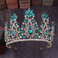 Fashion Wedding Crown Green Crystal Bride Hair Accessories Princess Crowns Women Bridal Tiaras bijoux cheveux Headband
