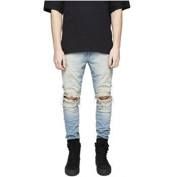 97c53b1f4cb 2018 новые черные рваные джинсы мужские с дырками супер обтягивающие  известный дизайнер бренд Slim Fit рваные джинсы брюки для мужчин