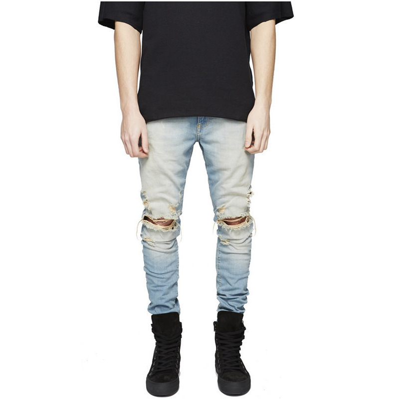 2018 New Black Ripped Jeans Men With Holes Super Skinny Famous Designer Brand Slim Fit Destroyed Torn Jean Pants For Male AB14