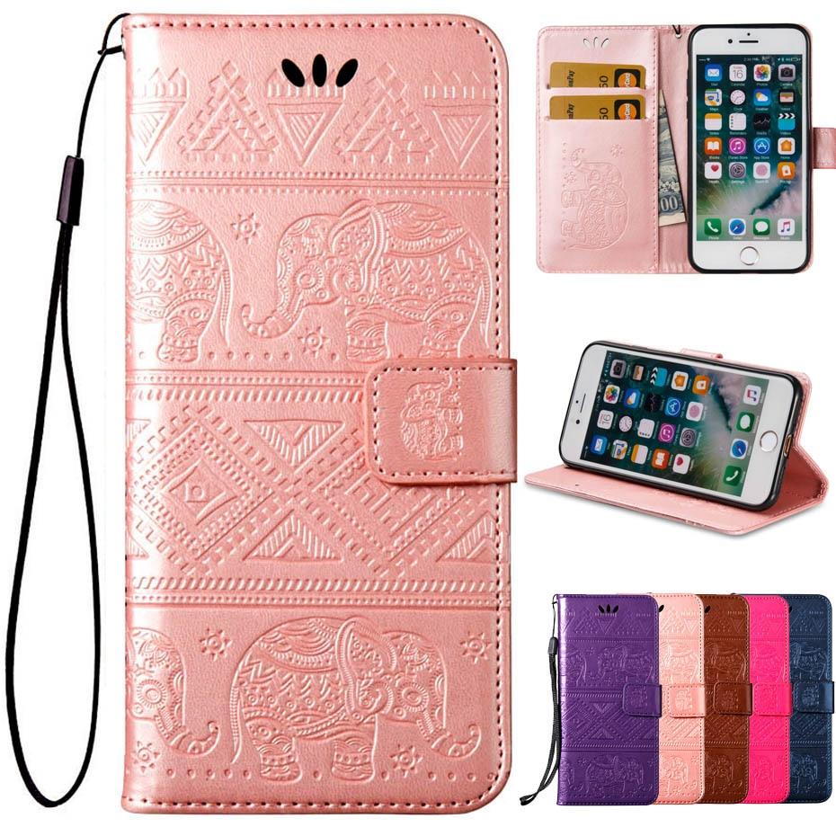 Высокое качество Слоны тисненая кожа флип Бумажник телефон чехол для iPhone 7/7 плюс Чехол с держатель кредитной карты
