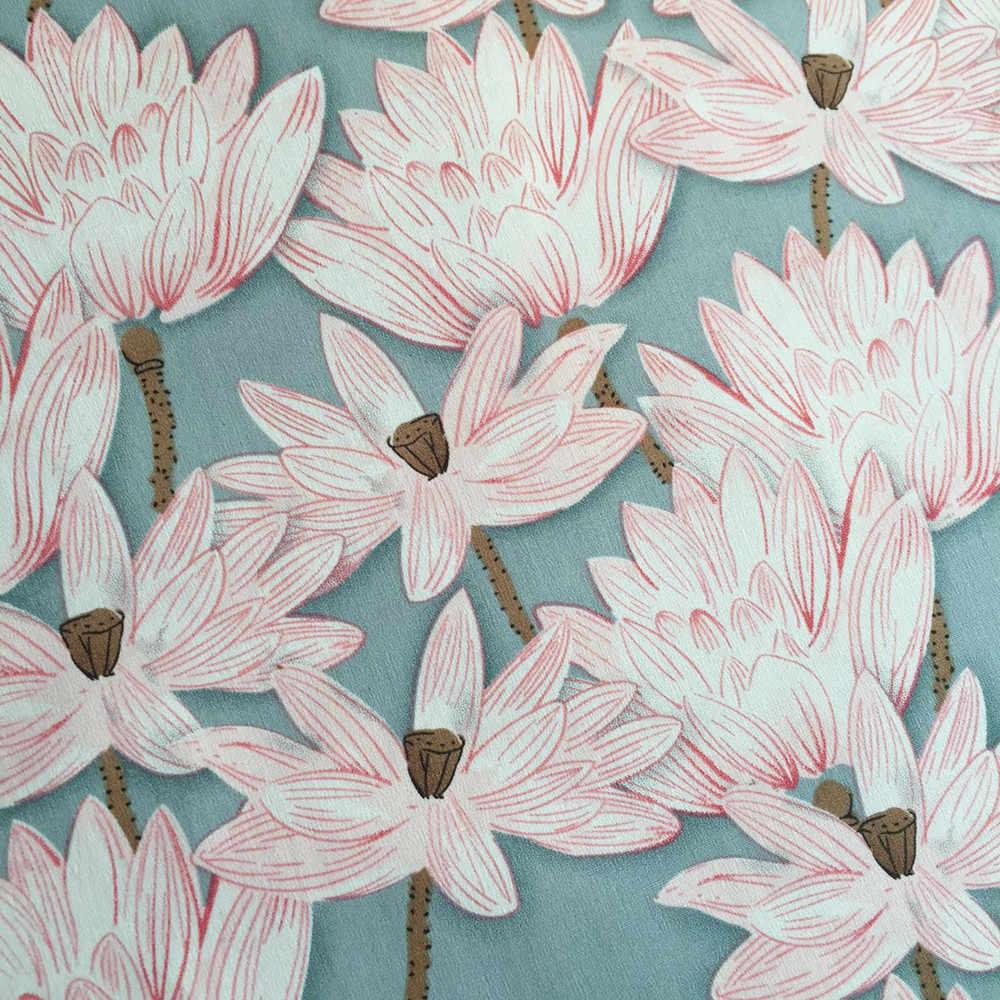HLQON 100% raso di cotone Beige foglie di loto stile stirata tessuto per FAI DA TE cucito abbigliamento donna abito da sposa tappezzeria