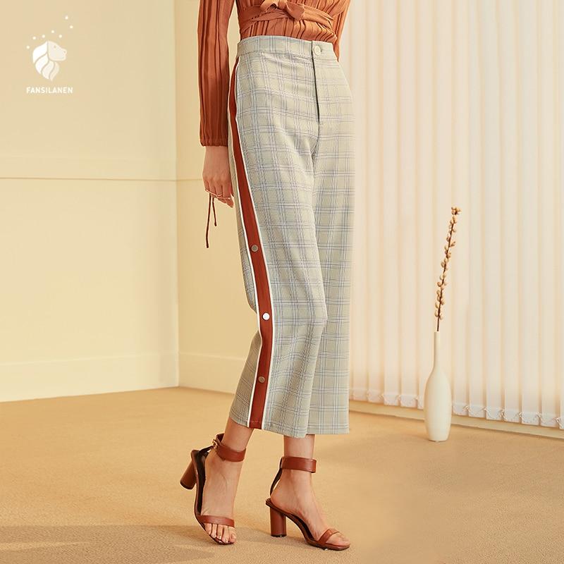 FANSILANEN mode nouveauté automne femmes pantalons pantalon large jambe Flare lâche solide Sport taille élastique Z80352